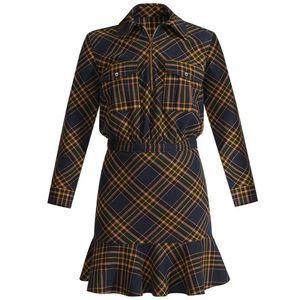 Veronica Beard NWT Plaid Shirt Dress Flannel Navy